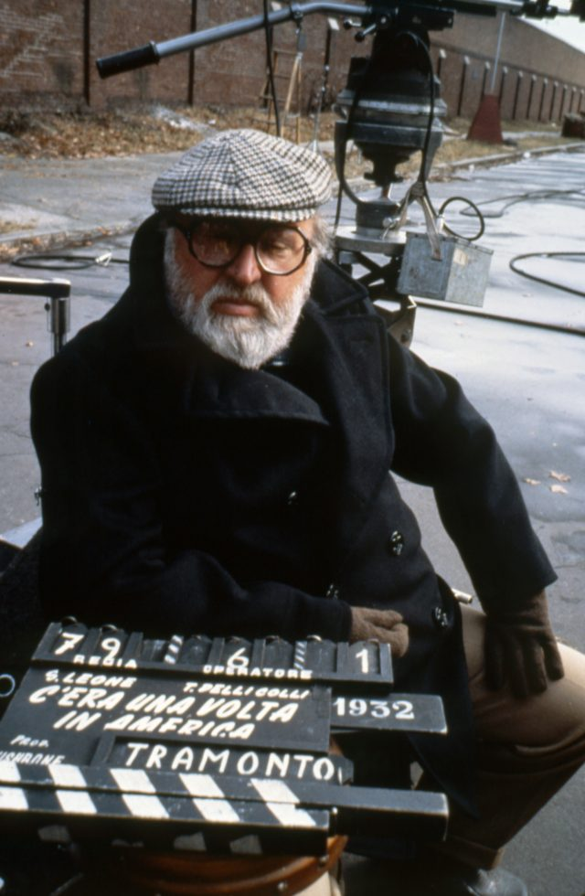 "Sergio Leone on the set of ""Once upon a time in America"""