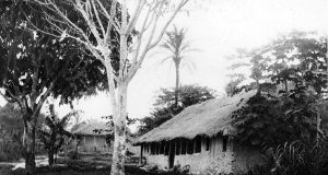 Old Belgian river station on the Congo River, 1889