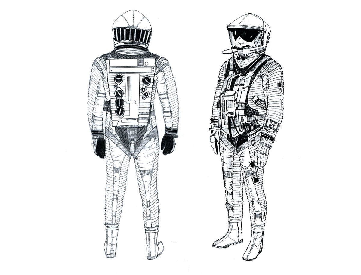 Concept designs by Harry Lange for the spacesuits and helmets used in the film 2001: A Space Odyssey