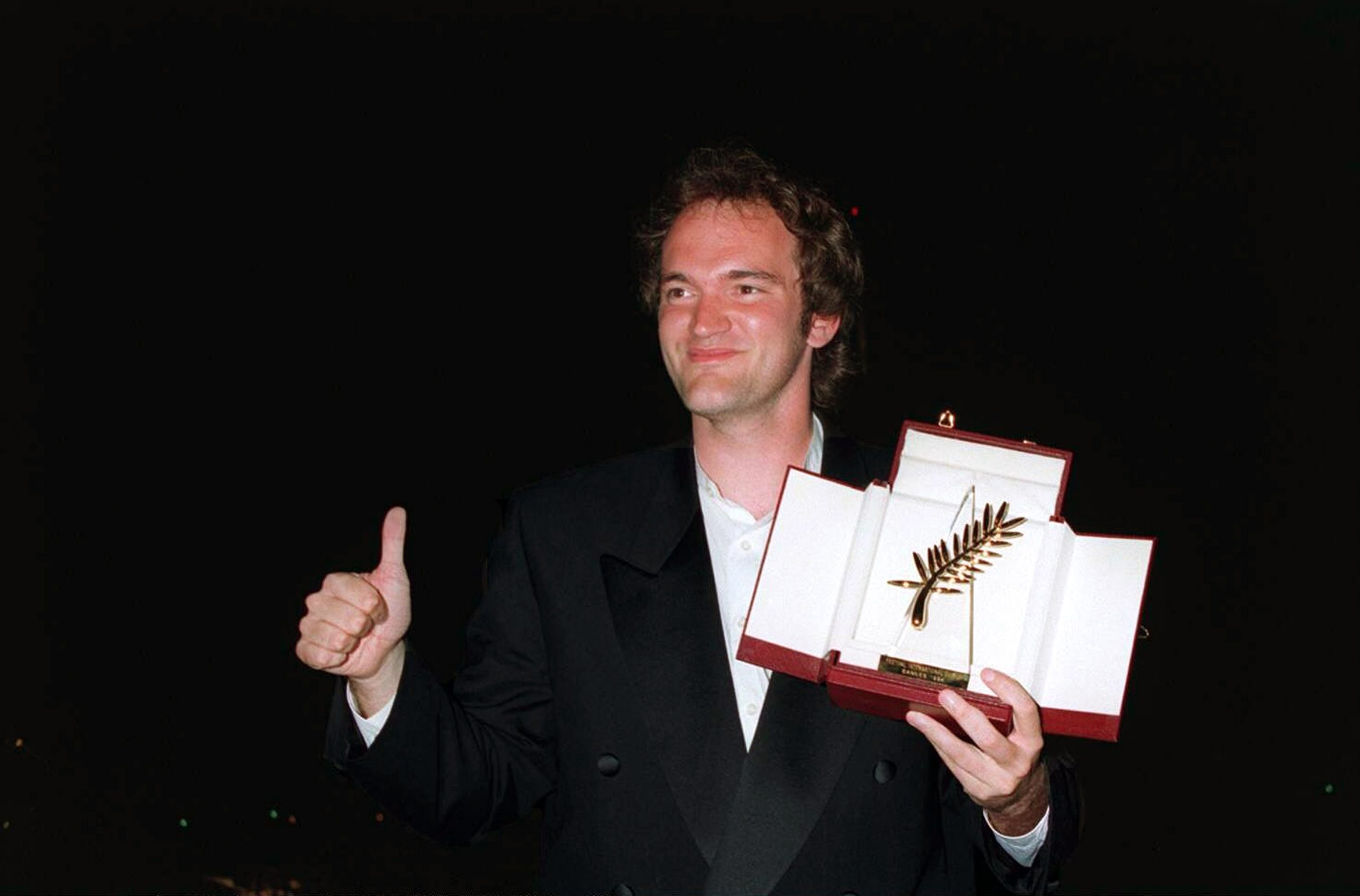 Quentin Tarantino with the Palme d'Or won at Cannes in 1994 with the movie Pulp Fiction