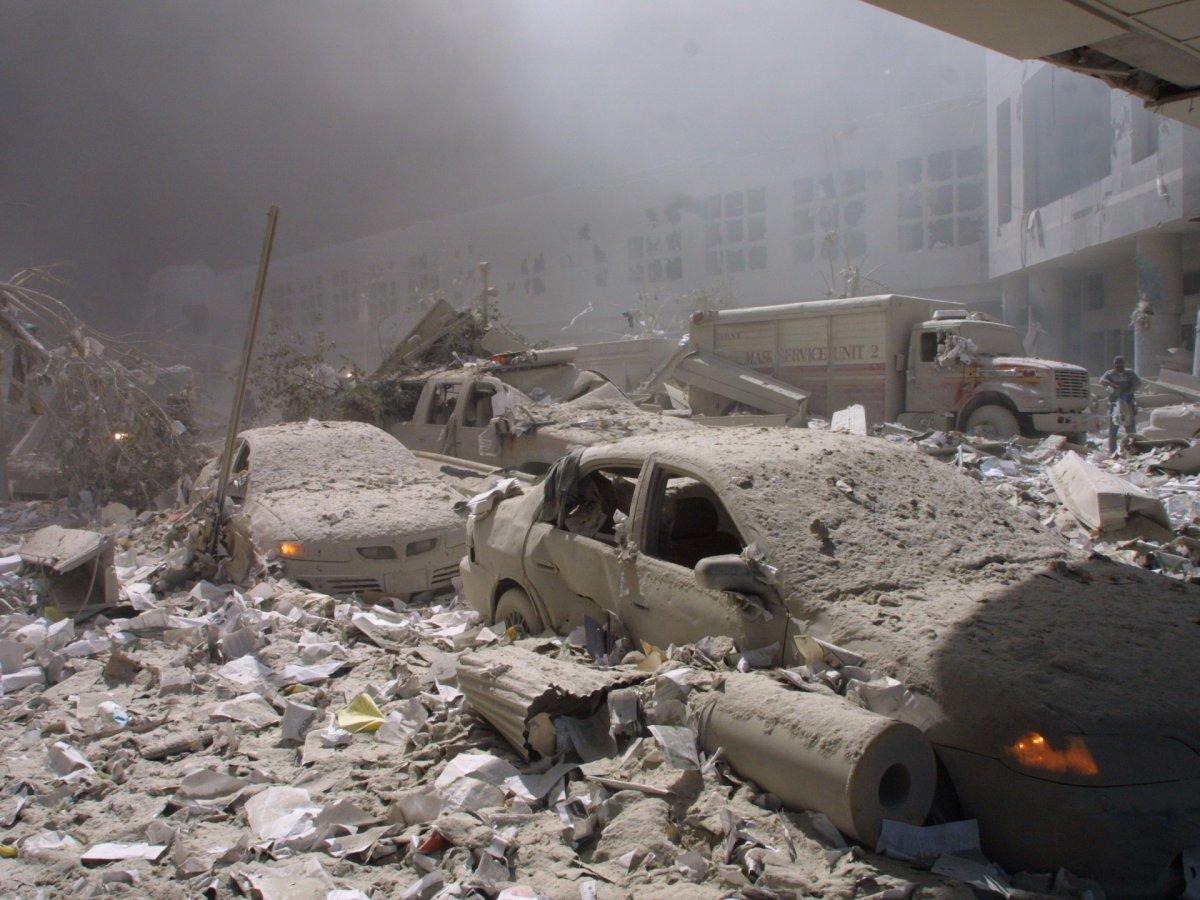 New York September 11 2001 Attacks - Debris-covered streets near the World Trade Center towers