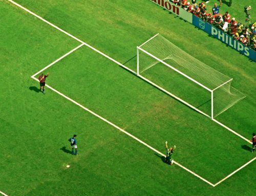 ROBERTO BAGGIO AFTER FIRING HIS DECISIVE PENALTY OVER THE BAR IN THE 1994 WORLD CUP FINAL SHOOTOUT