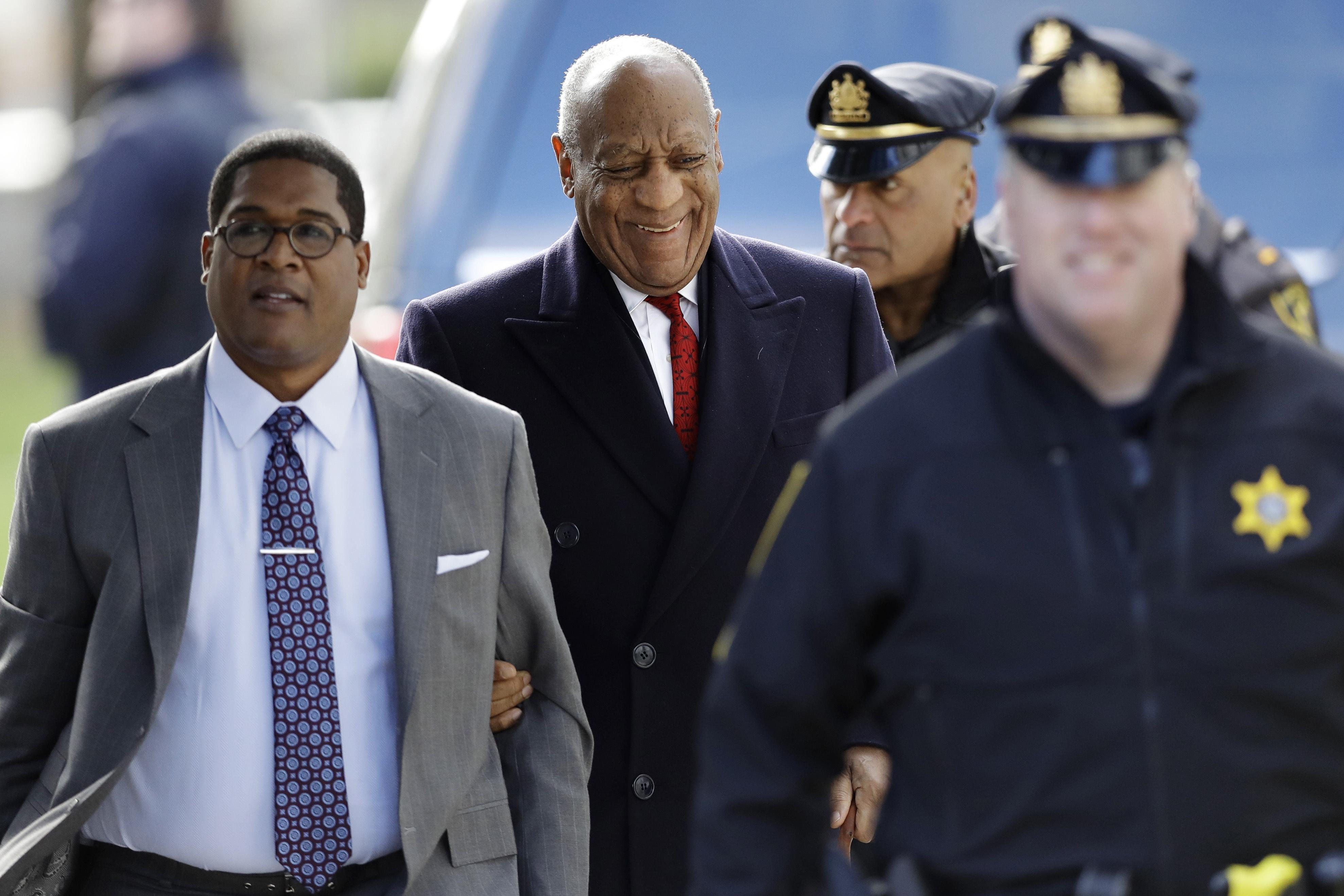 Bill Cosby arrives for his sexual assault trial, Friday, April 20, 2018, at the Montgomery County Courthouse in Norristown, Pa.