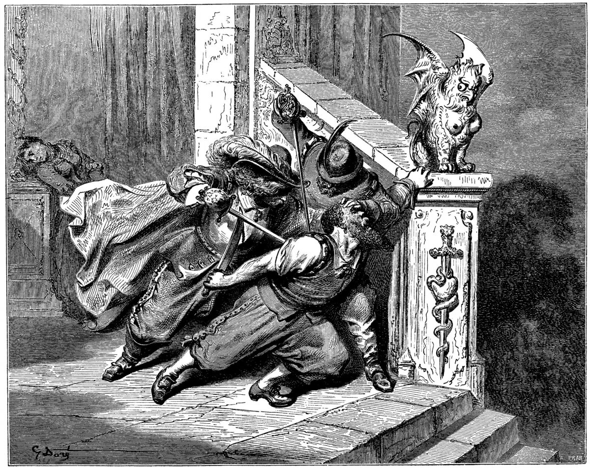 The death of Bluebeard, stabbed by his wife's brothers. Fairy Tales of Charles Perrault illustrated by Gustave Dore