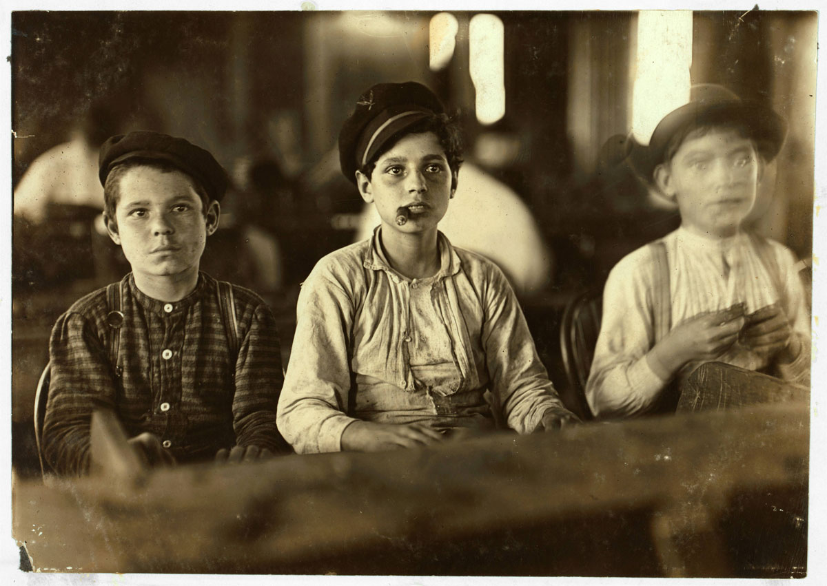 Young Cigarmakers in Englehardt and Company, Tampa, Florida - Photo by Lewis Wickes Hine