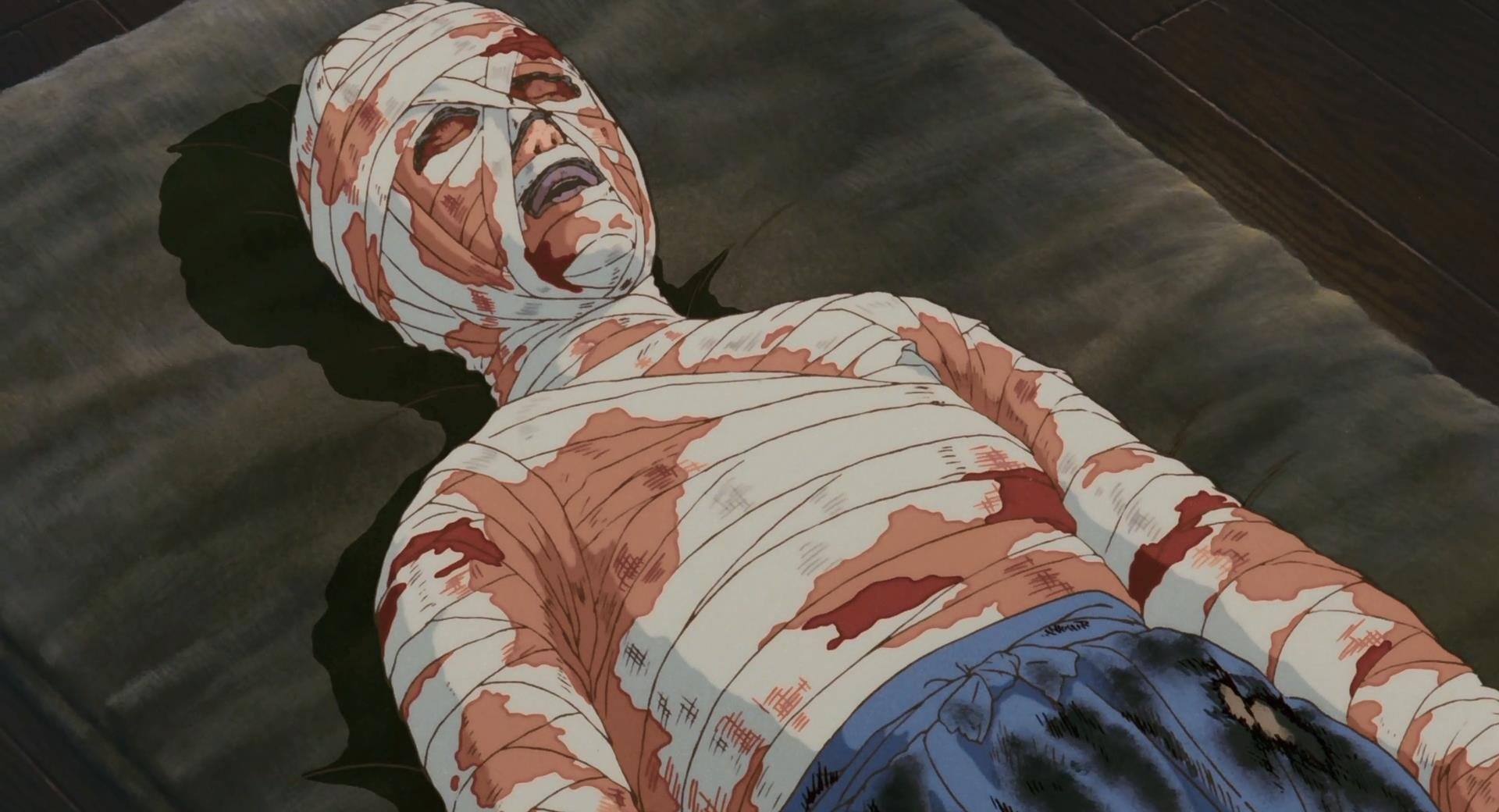 Seita's and Setsuko's mother, horribly burnt and covered head to foot with bloody bandages