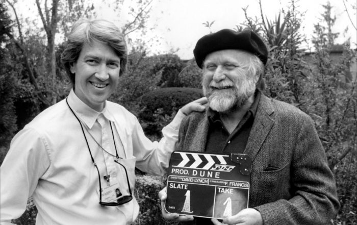 David Lynch and Frank Herbert on the set of Dune, 1984