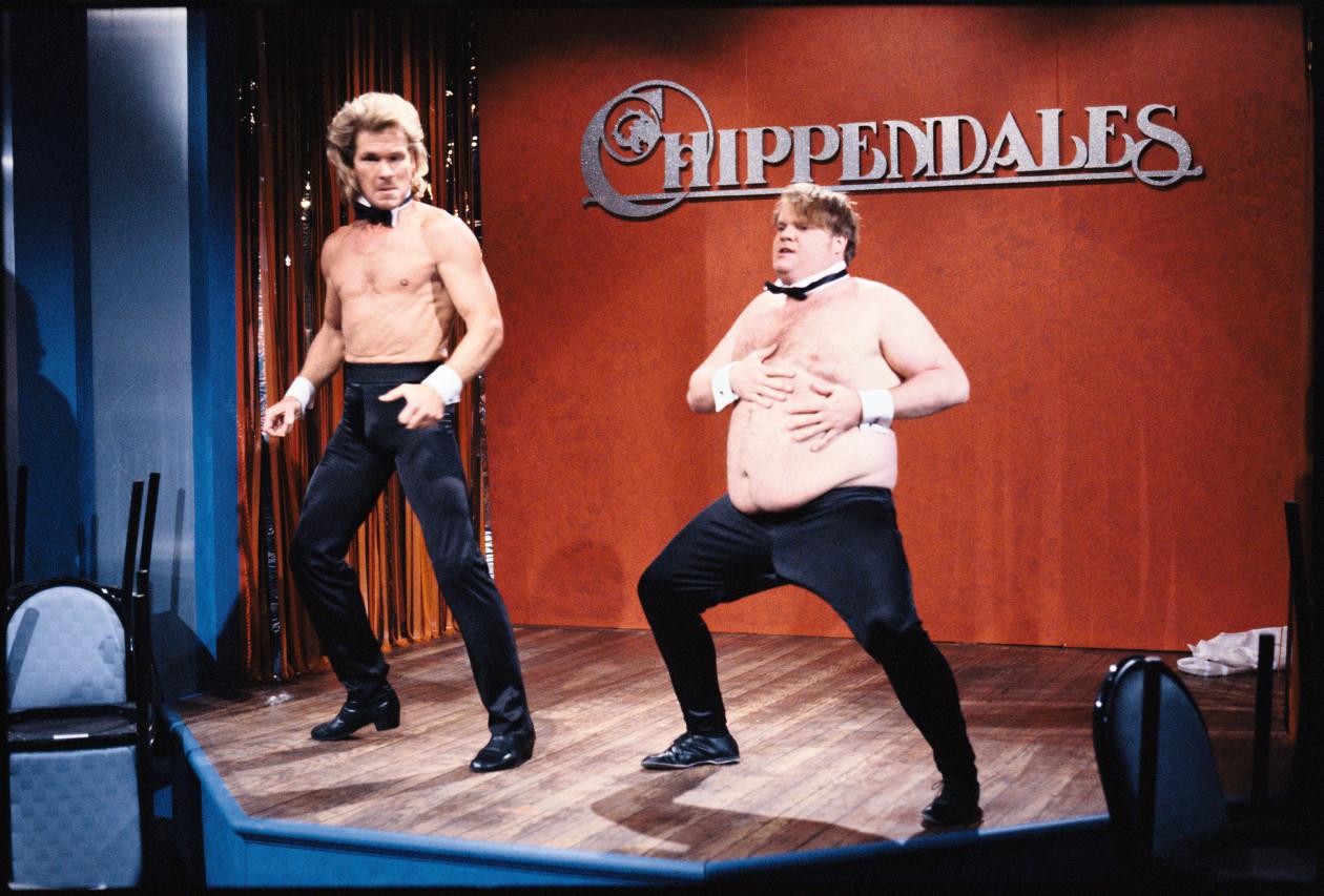 Chris Farley's SNL sketch with Patrick Swayze in 1990