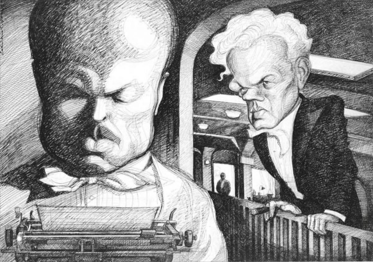 Kane (Orson Welles) finishes the review that Leland (Joseph Cotten) is too drunk to complete.