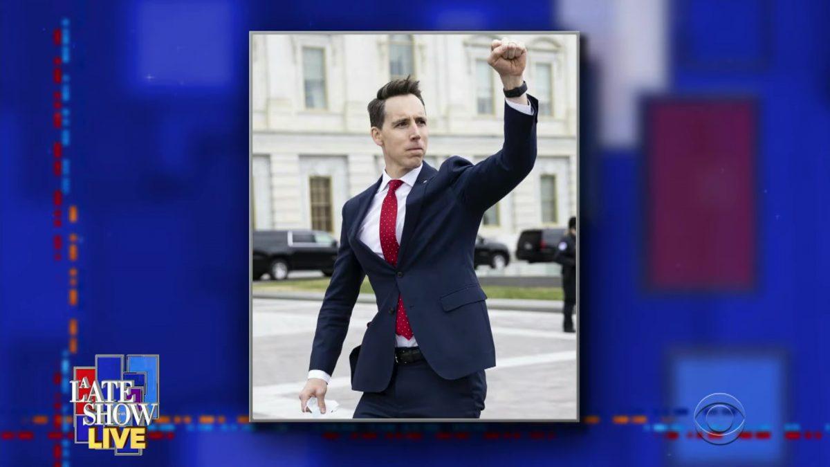 Senator Josh Hawley, raising his stupid fist to the mob outside the Capitol