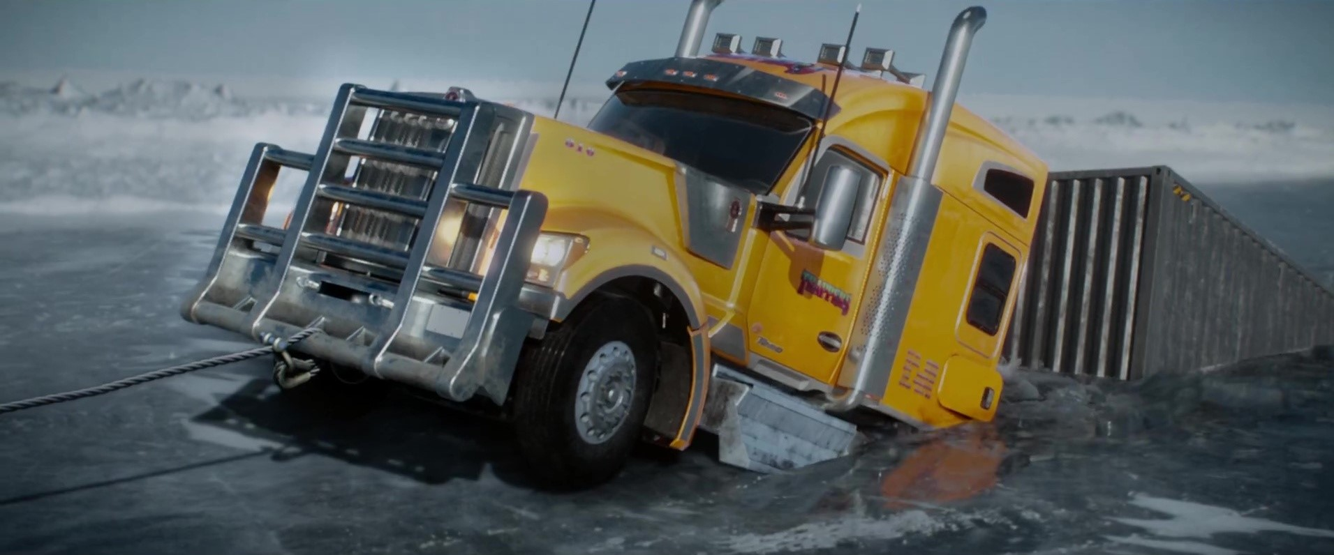 The Ice Road (2021) Truck sinking through the ice