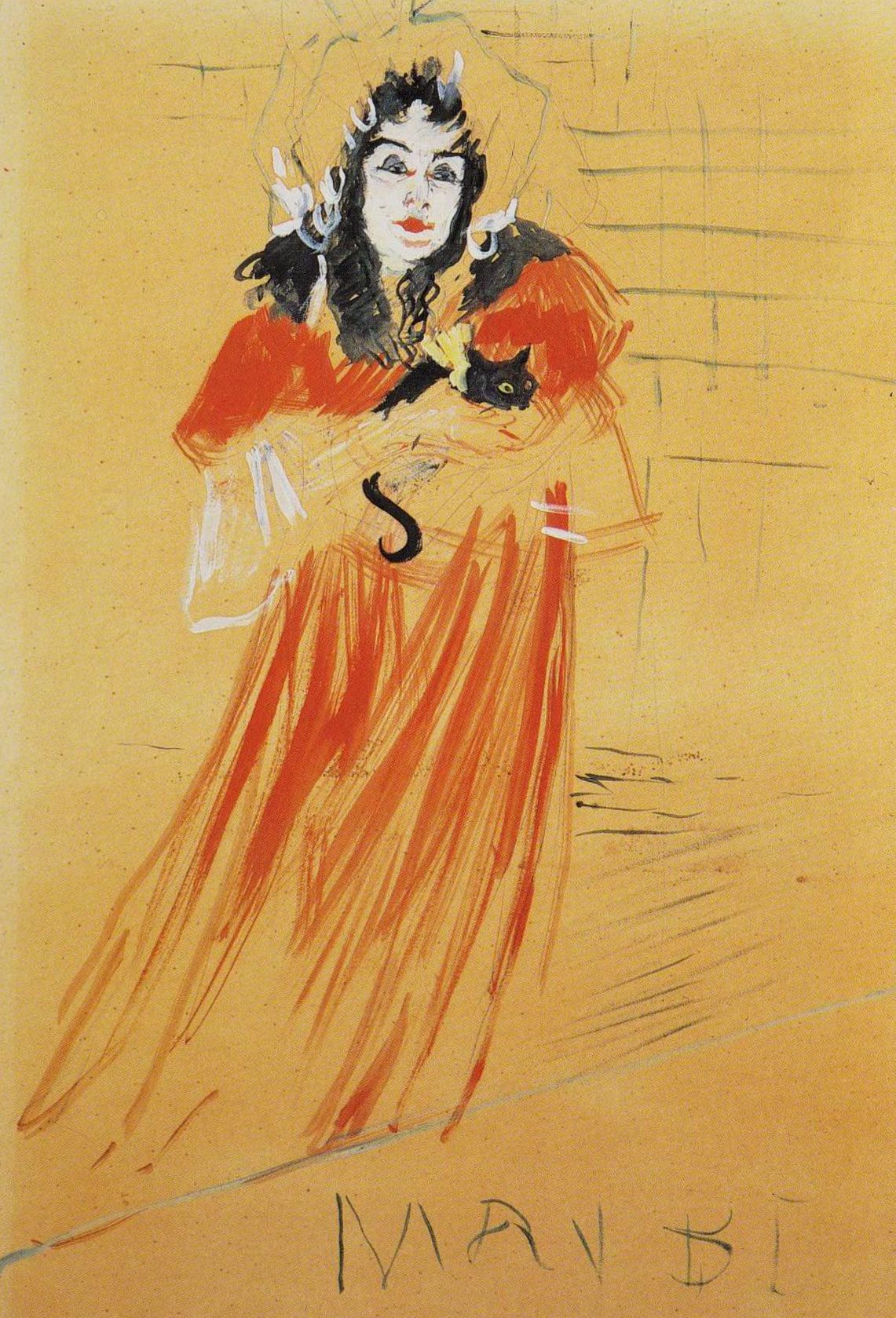 Henri de Toulouse-Lautrec, Miss May Belfort (Maquette for the poster). Gouache and pencil on paper, 1895.