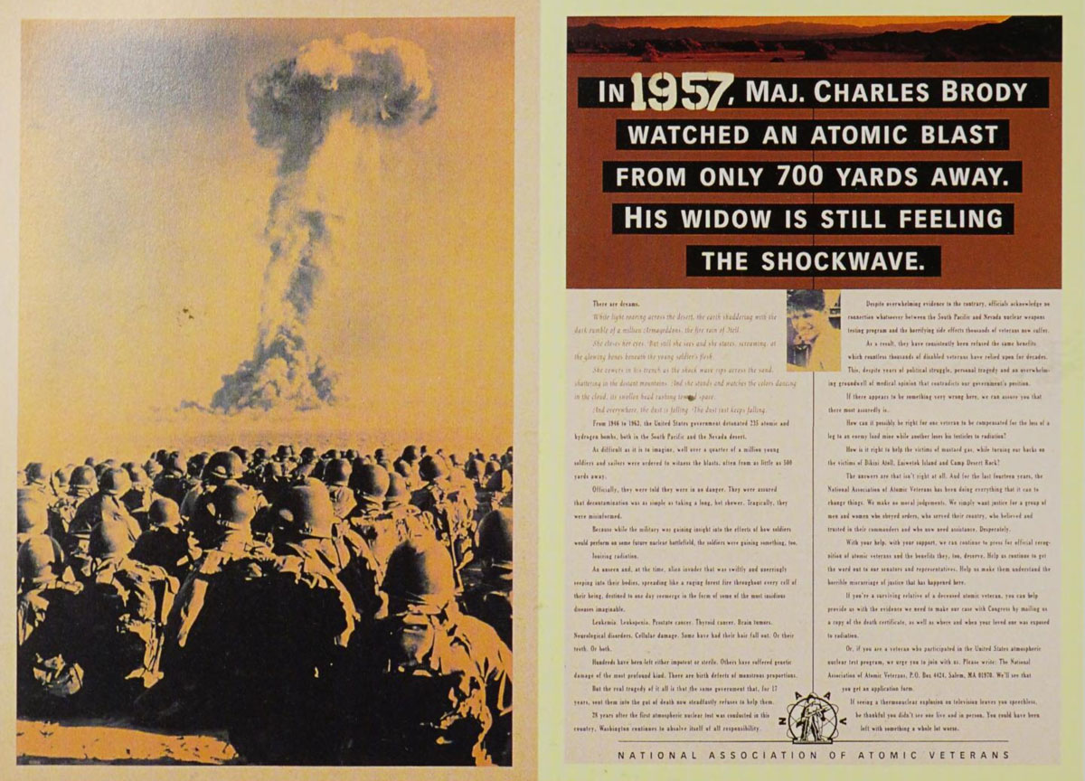 In 1957, Maj. Charles Brody watched an atomic blast from only 700 yards away
